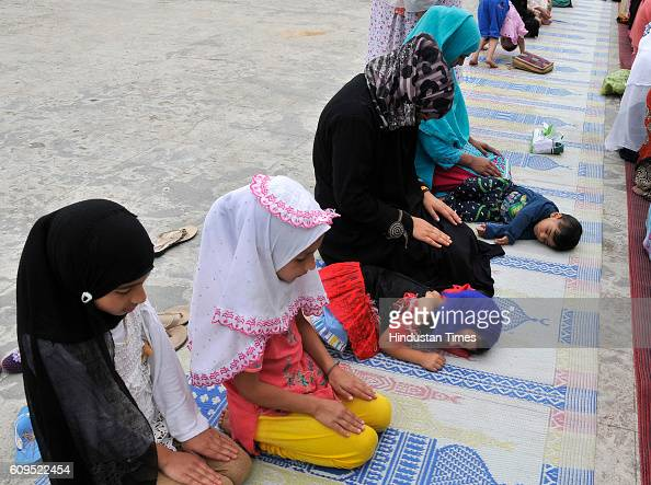 Kashmiri women pray at the Hazratbal Shrine on September 21 2016 in Srinagar India People are holding special prayers to observe the Martyrs' Day of...