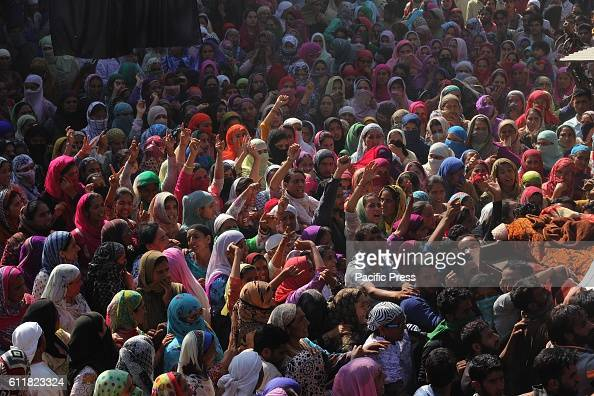 Kashmiri women protesting against the killing of Muzaffar Ahmad Pandit during his funeral procession Checkekawoosa in central Kashmirs Buddgam...