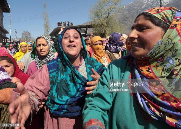 Kashmiri women wail during the funeral of Umar Farooq a civilian killed by Indian police in Barsoo Eight civilians were killed and hundreds injured...