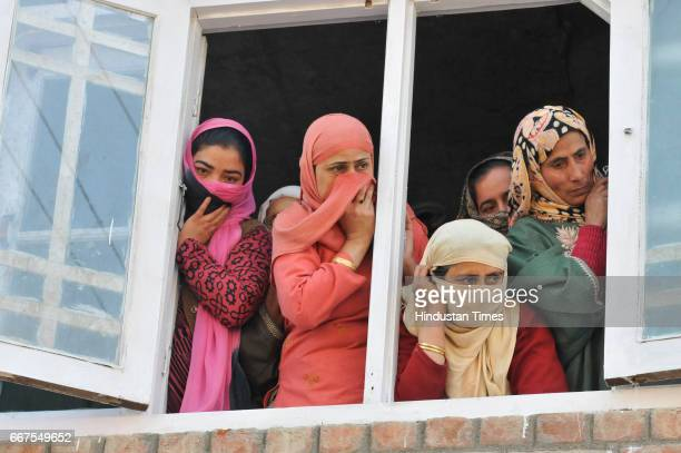 Kashmiri women weep during the funeral of Ali Mohammad Dagga a driver who was on election duty died when his vehicle came under attack of stone...