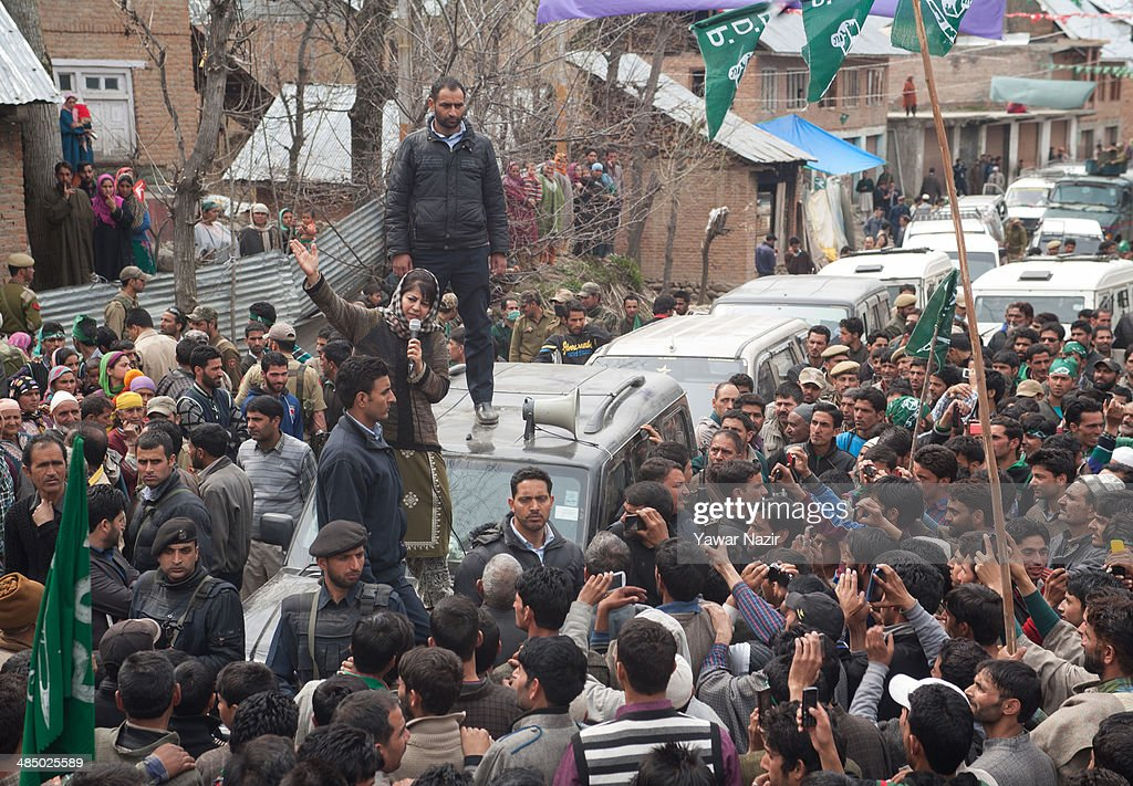 Kashmir's main opposition political party, Peoples Democratic Party's (PDP) leader Mehbooba Mufti, and candidate for South Kashmir addresses her supporters during her road show on April 15, 2014, in Tsimer about 90 km south of Srinagar, the summer capital of Indian administered Kashmir, India.Kashmir's main opposition political party, Peoples Democratic Party's (PDP) leader Mehbooba Mufti, and candidate for South Kashmir started off with road shows across 21 villages as a part of her election campaign for the upcoming Lok Sabha polls on Tuesday. She started from Pahloo of the Noorabad constituency.