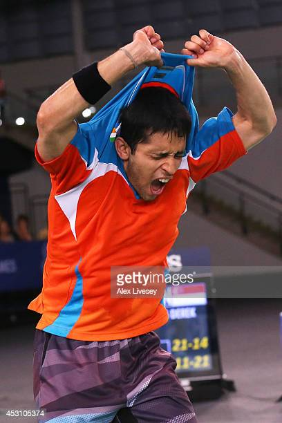 Kashyap Parupalli of India celebrates winning gold in the Men's Singles Gold Medal Match against Derek Wong of Singapore at Emirates Arena during day...