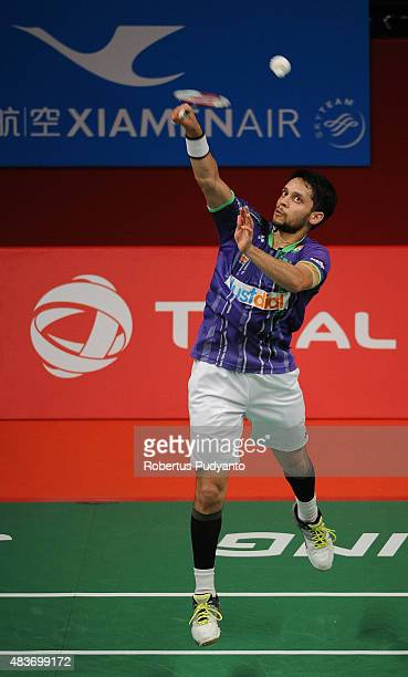 Kashyap Parupalli of India competes against Nguyen Tien Minh of Vietnam in the 2015 Total BWF World Championship at Istora Senayan on August 12 2015...