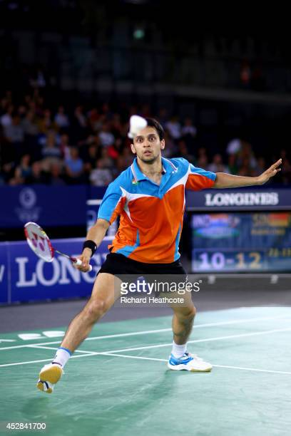 Kashyap Parupalli of India in action in his singles match against Chao Huang of Singapore in the Mixed Team Bronze medal final at Emirates Arena...