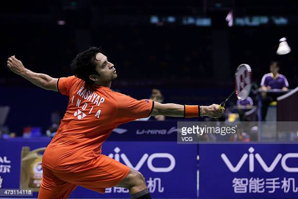 Kashyap Parupalli of India returns to Son Wan Ho of Korea during Men's Singles match on day four of 2015 Sudirman Cup BWF World Mixed Team...