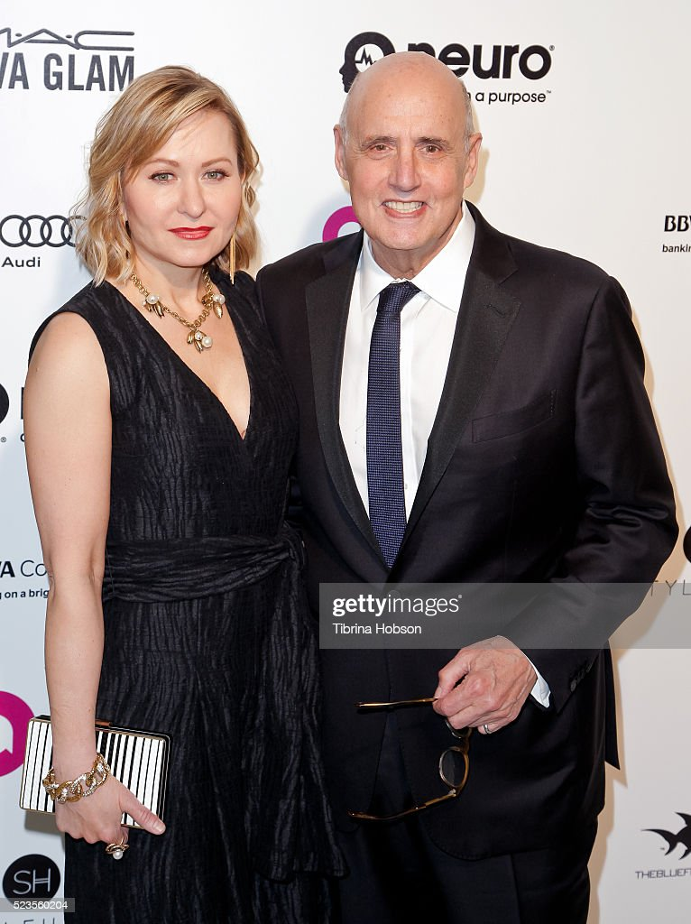 Kasia Ostlun and Jeffrey Tambor attend the 24th annual Elton John AIDS Foundation's Oscar Party on February 28, 2016 in West Hollywood, California.