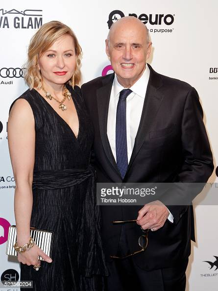 Kasia Ostlun and Jeffrey Tambor attend the 24th annual Elton John AIDS Foundation's Oscar Party on February 28 2016 in West Hollywood California