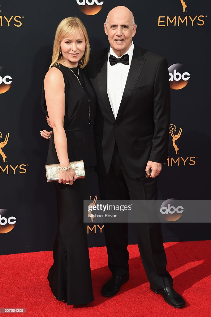 Kasia Ostlun (L) and Jeffrey Tambor attend the 68th Annual Primetime Emmy Awards at Microsoft Theater on September 18, 2016 in Los Angeles, California.
