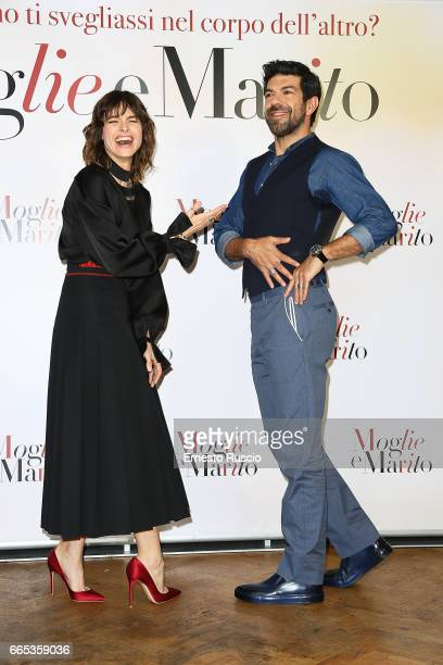 Kasia Smutniak and Pierfrancesco Favino attend a photocall for 'Moglie E Marito' at the apartment on April 6 2017 in Rome Italy