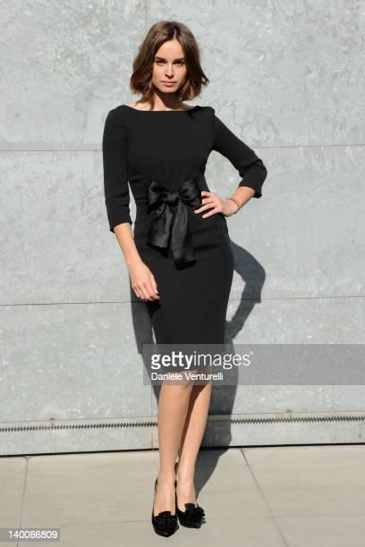 Kasia Smutniak attends the Giorgio Armani Autumn/Winter 2012/2013 fashion show as part of Milan Womenswear Fashion Week on February 27 2012 in Milan...