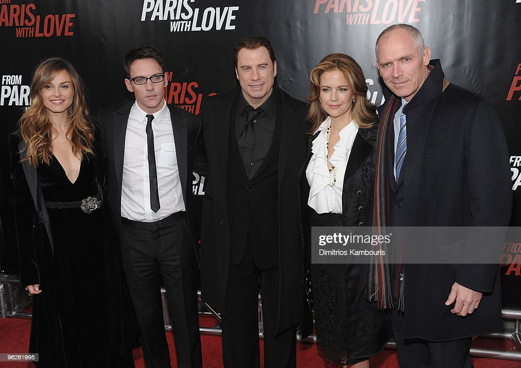 Kasia Smutniak Jonathan Rhys Meyers John Travolta Kelly Preston and Joe Drake President of Lionsgate attend the 'From Paris With Love' premiere at...