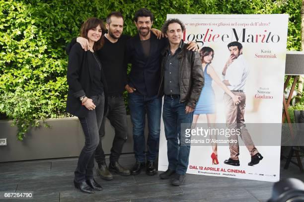R Kasia Smutniak Simone Godano Pierfrancesco Favino and Valerio Aprea attend a photocall for 'Moglie E Marito' on April 11 2017 in Milan Italy