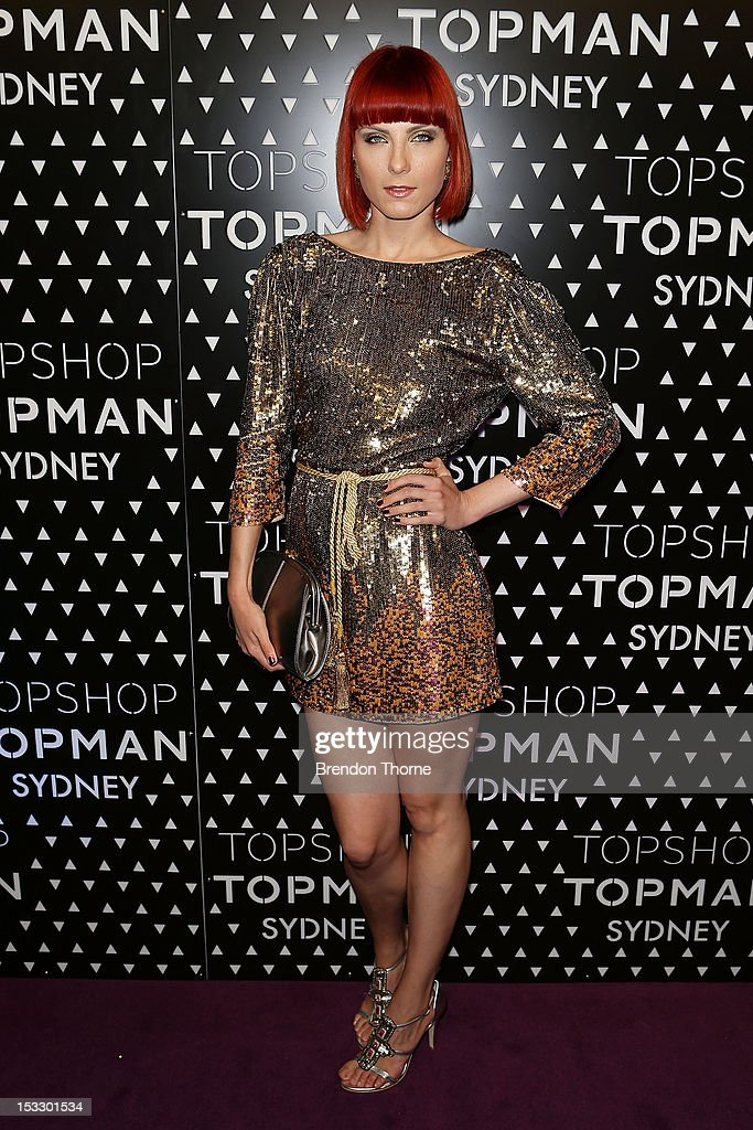 Kasia Stelmach arrives for the Topshop Topman Sydney launch party on October 3, 2012 in Sydney, Australia.
