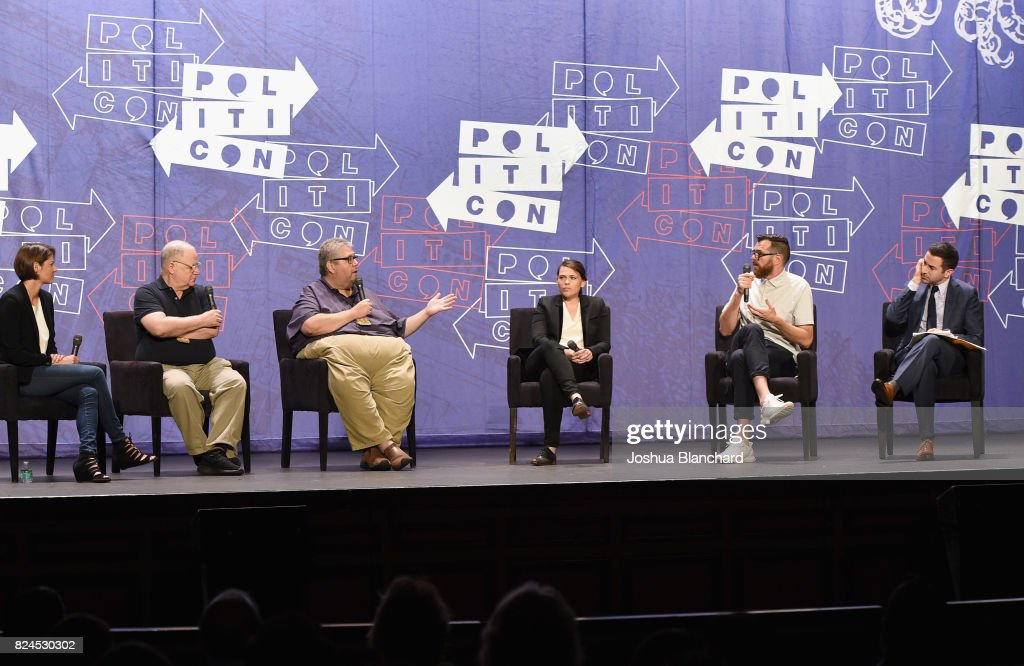 Kasie Hunt, Frank Rich, David Mandel, Clea Duvall, Tim Simons and Ari Melber at the 'Meet Veep!' panel during Politicon at Pasadena Convention Center on July 30, 2017 in Pasadena, California.