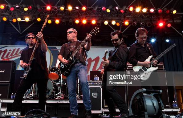 Kasim Sultan Eric Bloom Richie Castellano and Donald 'Buck Dharma' Roeser from Long Island New York rock band Blue Oyster Cult performs on the Miller...