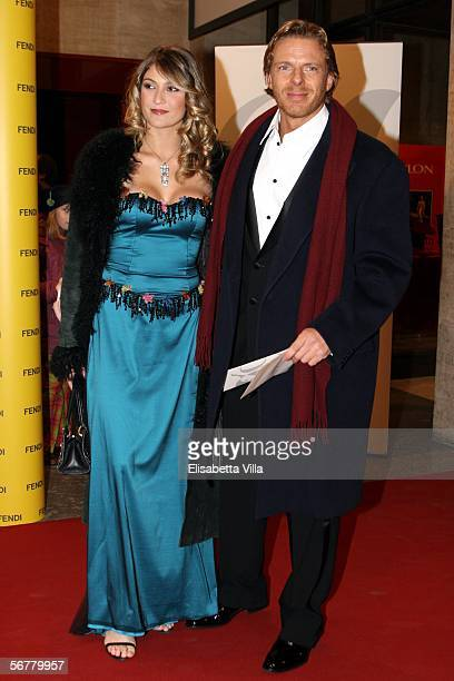 Kaspar Capparoni and his girlfriend attend the Nastri D'Argento Ceremony at The Auditorium on February 7 2006 in Rome Italy