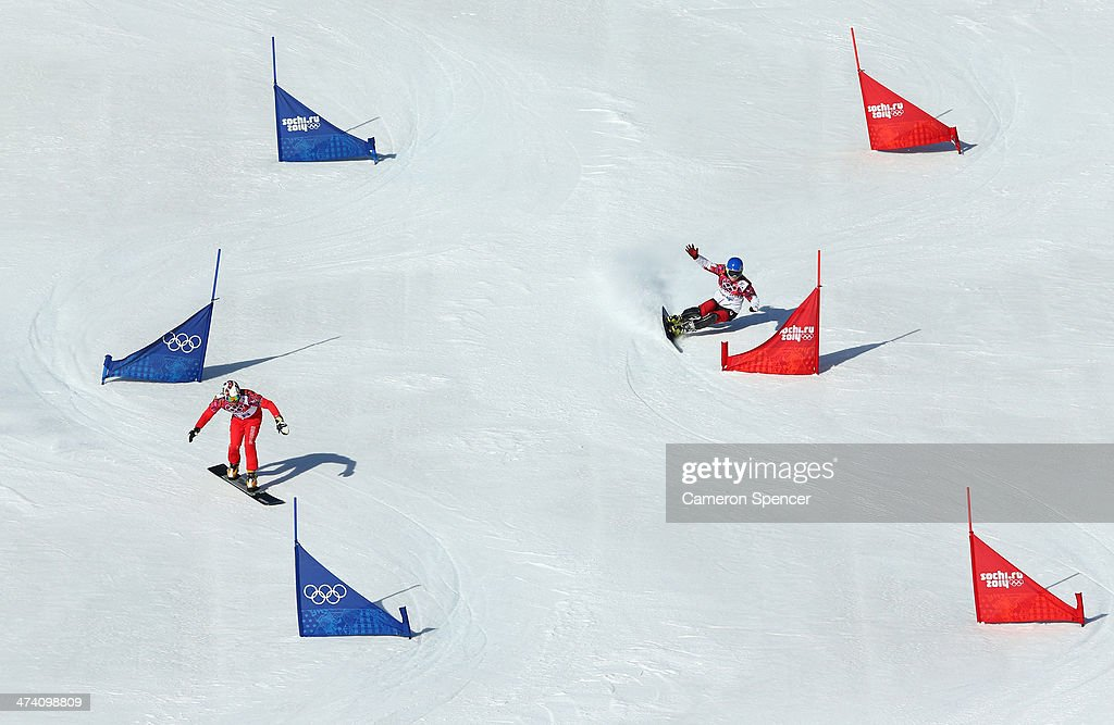 Kaspar Fluetsch of Switzerland and Michael Lambert of Canada compete in the Snowboard Men's Parallel Slalom Qualification on day 15 of the 2014 Winter Olympics at Rosa Khutor Extreme Park on February 22, 2014 in Sochi, Russia.