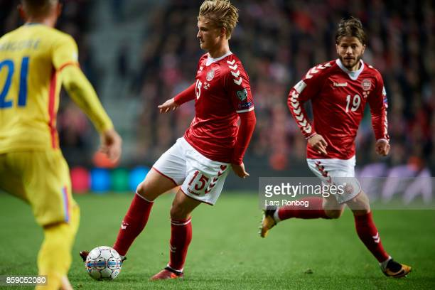 Kasper Dolberg and Lasse Schone of Denmark in action during the FIFA World Cup 2018 qualifier match between Denmark and Romania at Telia Parken...