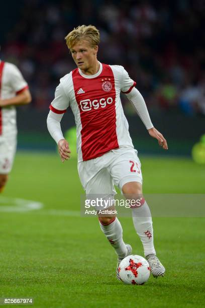 Kasper Dolberg from AJAX during the UEFA Champions League Qualifying Third Round Second Leg match between AJAX Amsterdam and OSC Nice at Amsterdam...