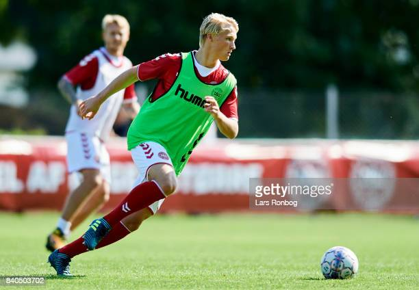 Kasper Dolberg in action during the Denmark training session at Helsingor Stadion on August 29 2017 in Helsingor Denmark
