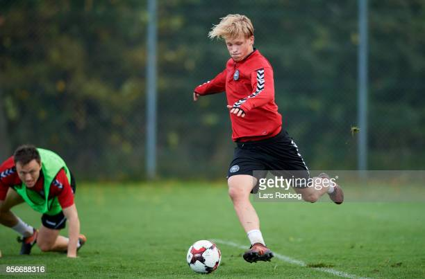 Kasper Dolberg in action during the Denmark training Session at Dragor Stadion on October 2 2017 in Dragor Denmark