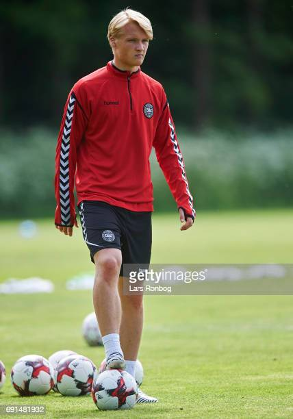 Kasper Dolberg looks on during to the Denmark training session at Brondby Stadion on June 2 2017 in Brondby Denmark