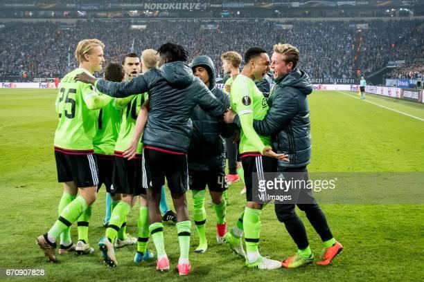 Kasper Dolberg of Ajax Amin Younes of Ajax referee Ovidiou Hategan Bertrand Traore of Ajax Justin Kluivert of Ajax Kenny Tete of Ajax Frenkie de Jong...