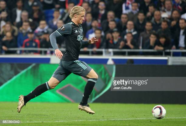Kasper Dolberg of Ajax Amsterdam during the UEFA Europa League semi final second leg match between Olympique Lyonnais and Ajax Amsterdam at Parc OL...