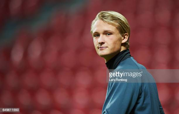 Kasper Dolberg of Ajax Amsterdam looks on during the AJAX Amsterdam training session prior to the UEFA Europa League match at Telia Parken Stadium on...