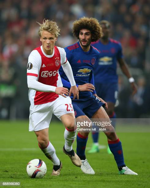 Kasper Dolberg of Ajax and Marouane Fellaini of Manchester United during the UEFA Europa League Final match between Ajax and Manchester United at...
