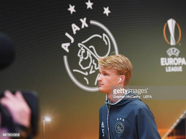 Kasper Dolberg of Ajax arrives at the stadium prior to the UEFA Europa League Final between Ajax and Manchester United at Friends Arena on May 24...