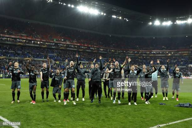 Kasper Dolberg of Ajax Bertrand Traore of Ajax Matthijs de Ligt of Ajax Amin Younes of Ajax Justin Kluivert of Ajax Donny van de Beek of Ajax Jairo...