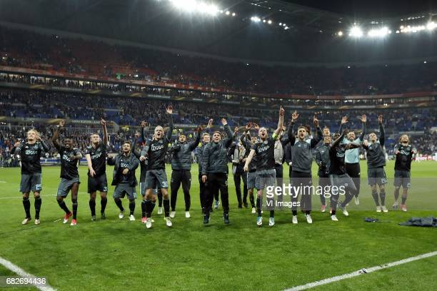Kasper Dolberg of Ajax Bertrand Traore of Ajax Matthijs de Ligt of Ajax Amin Younes of Ajax Donny van de Beek of Ajax Jairo Riedewald of Ajax Frenkie...