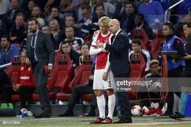 Kasper Dolberg of Ajax Coach Marcel Keizer of Ajax during the Dutch Eredivisie match between Ajax Amsterdam and Sparta Rotterdam at the Amsterdam...