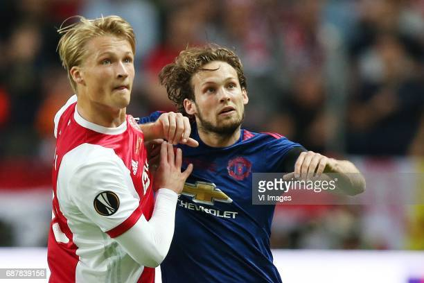 Kasper Dolberg of Ajax Daley Blind of Manchester Unitedduring the UEFA Europa League final match between Ajax Amsterdam and Manchester United at the...