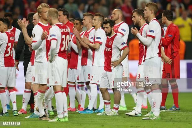 Kasper Dolberg of Ajax Donny van de Beek of Ajax Amin Younes of Ajax Joel Veltman of Ajax Matthijs de Ligt of Ajaxduring the UEFA Europa League final...