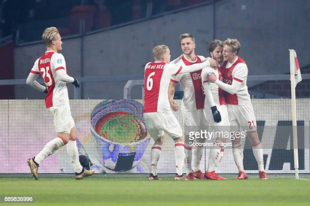 Kasper Dolberg of Ajax Donny van de Beek of Ajax Joel Veltman of Ajax Lasse Schone of Ajax Frenkie de Jong of Ajax during the Dutch Eredivisie match...