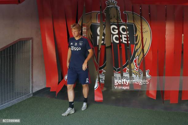 Kasper Dolberg of Ajax during a training session prior to the third round qualifying first leg match between OGC Nice and Ajax Amsterdam on July 25...
