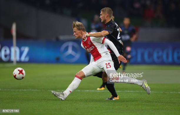 Kasper Dolberg of Ajax during the UEFA Champions League Qualifying Third Round match between Ajax and OSC Nice at Amsterdam Arena on August 2 2017 in...