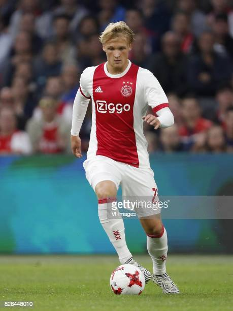 Kasper Dolberg of Ajax during the UEFA Champions League third round qualifying first leg match between Ajax Amsterdam and OGC Nice at the Amsterdam...