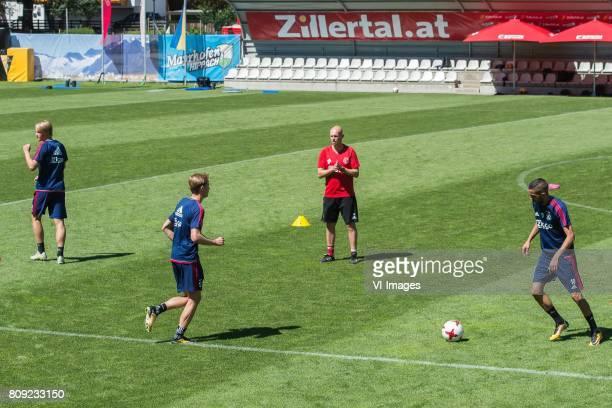 Kasper Dolberg of Ajax Frenkie de Jong of Ajax coach Marcel Keizer of Ajax Hakim Ziyech of Ajaxduring the preseason summer training camp of Ajax...