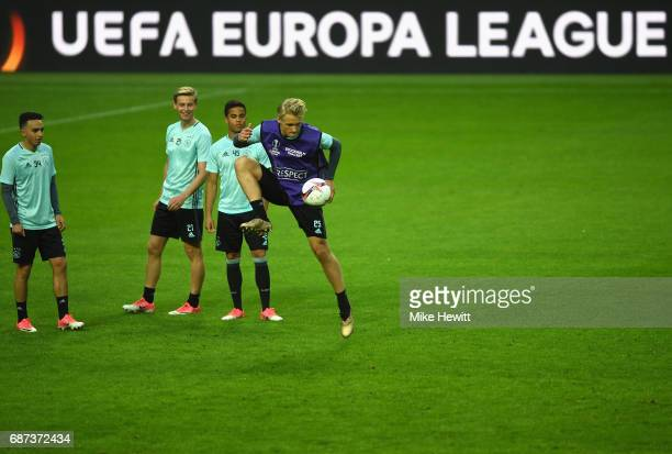 Kasper Dolberg of Ajax in action during a training session at The Friends Arena ahead of the UEFA Europa League Final between Ajax and Manchester...