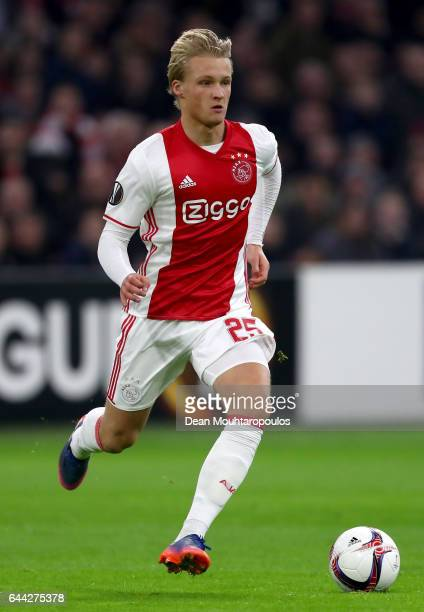 Kasper Dolberg of Ajax in action during the UEFA Europa League Round of 32 second leg match between Ajax Amsterdam and Legia Warszawa at Amsterdam...