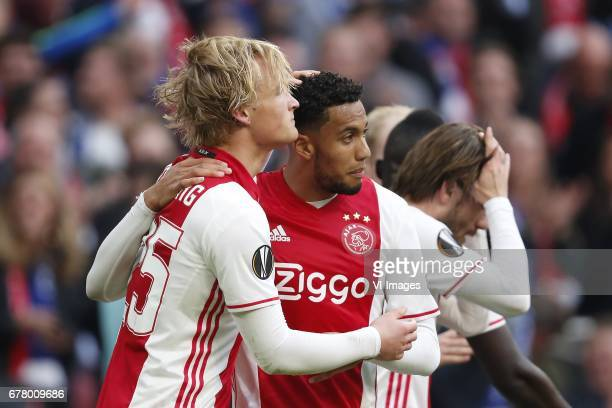 Kasper Dolberg of Ajax Jairo Riedewald of Ajax Lasse Schone of Ajaxduring the UEFA Europa League semi final match between Ajax Amsterdam and...