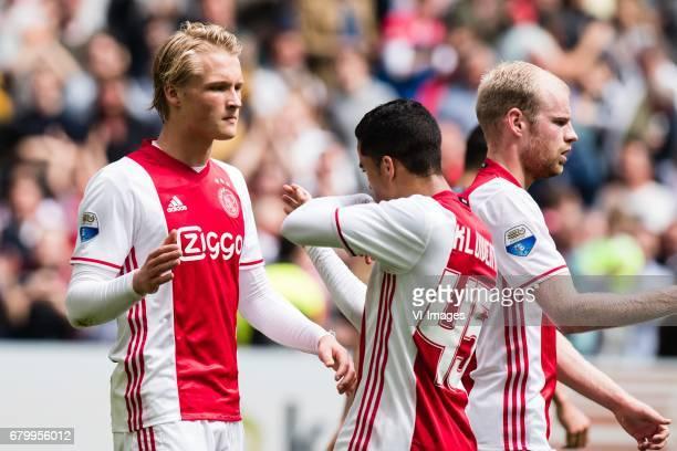 Kasper Dolberg of Ajax Justin Kluivert of Ajax Davy Klaassen of Ajaxduring the Dutch Eredivisie match between Ajax Amsterdam and Go Ahead Eagles at...