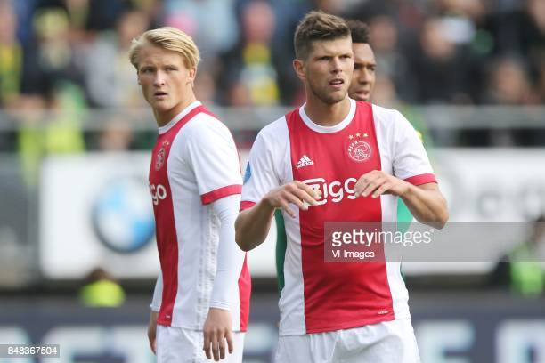 Kasper Dolberg of Ajax Klaas Jan Huntelaar of Ajax during the Dutch Eredivisie match between ADO Den Haag and Ajax Amsterdam at Car Jeans stadium on...