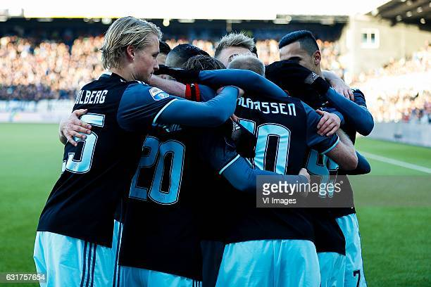Kasper Dolberg of Ajax Lasse Schone of Ajax Daley Sinkgraven of Ajax Davy Klaassen of Ajax Anwar El Ghazi of Ajaxduring the Dutch Eredivisie match...