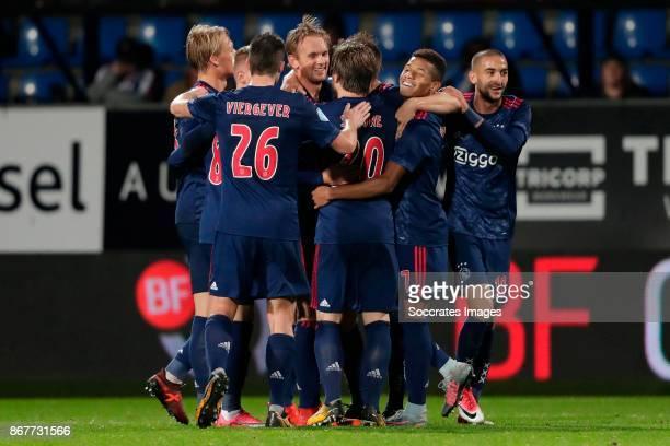 Kasper Dolberg of Ajax Lasse Schone of Ajax Frenkie de Jong of Ajax Klaas Jan Huntelaar of Ajax David Neres Hakim Ziyech of Ajax celebrating 12...