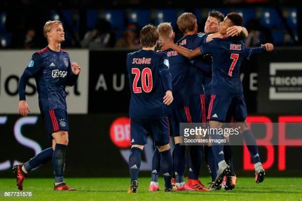Kasper Dolberg of Ajax Lasse Schone of Ajax Frenkie de Jong of Ajax Klaas Jan Huntelaar of Ajax David Neres of Ajax celebrating 12 during the Dutch...