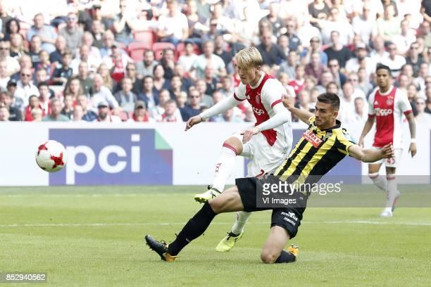 Kasper Dolberg of Ajax Matt Miazga of Vitesse during the Dutch Eredivisie match between Ajax Amsterdam and Vitesse Arnhem at the Amsterdam Arena on...